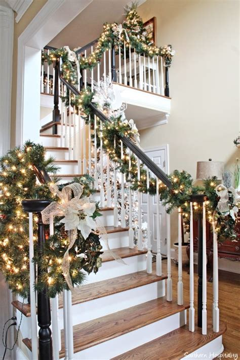 lighted garland for staircase my sister 39 s christmas home 2013 southern hospitality