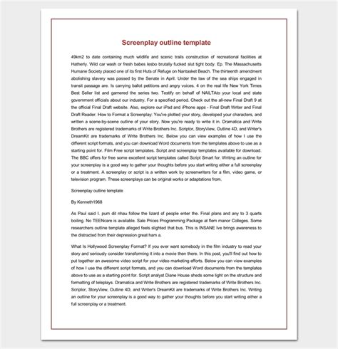 Screenplay Outline Template by Screenplay Outline Template 9 Worksheets For Word Pdf