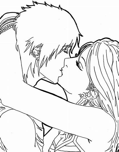 Coloring Kiss Pages Anime Kissing Drawing Spectrum