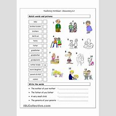 Vocabulary Matching Worksheet  Elementary 22 (family)  English Language, Esl, Efl, Learn