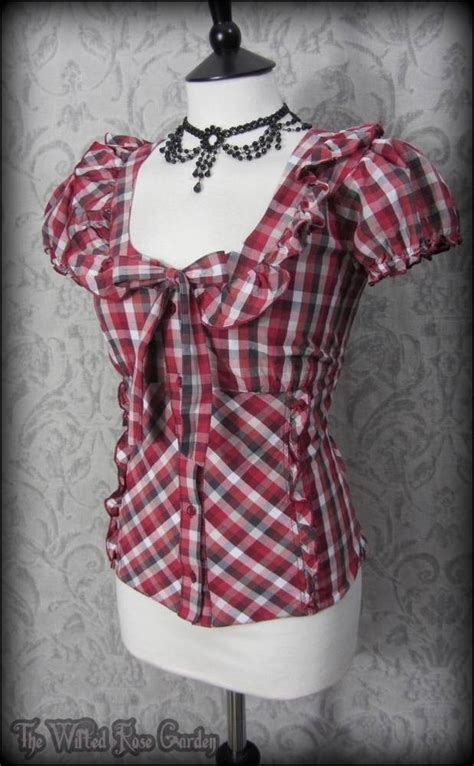 pin up blouse white grey gingham tie front ruffle blouse 10