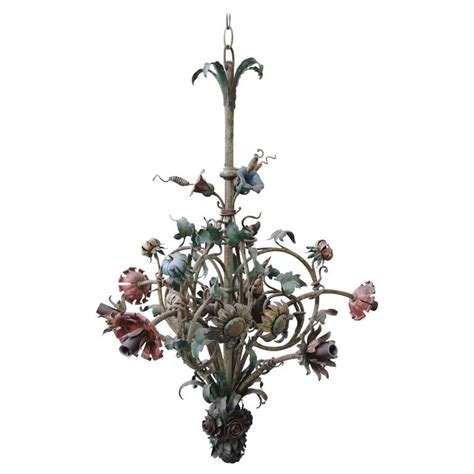 six light wrought iron painted floral chandelier