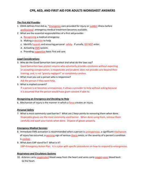 First Aid Worksheet  Free Printables Worksheet