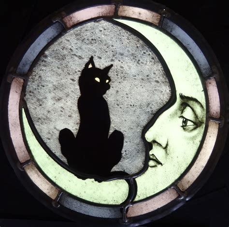 custom cat and moon stained glass by haeuser heil studios custommade com