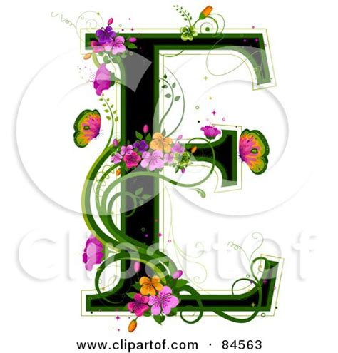 Black Capital Letter E Outlined In Green, With Colorful ...