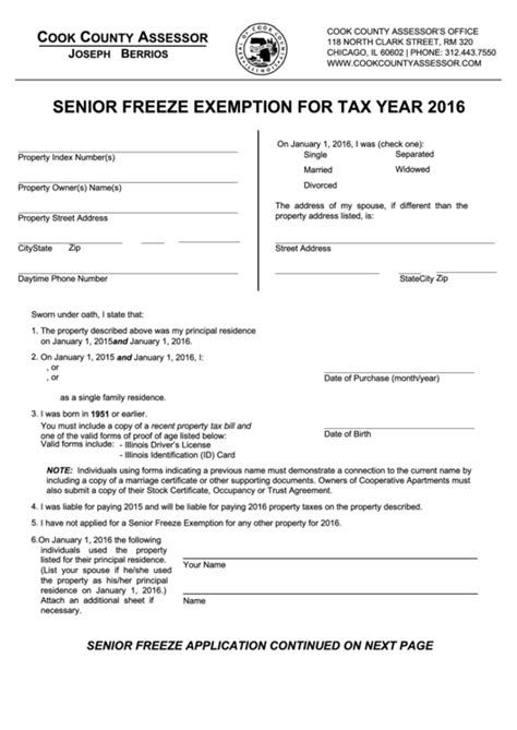 cook county tax exemption forms senior freeze exemption cook county assessor 2016