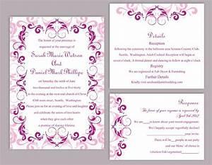 diy wedding invitation template set editable word file With wedding invitation templates violet