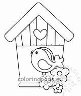 Bird Birdhouse Wooden Illustration Coloring Birds Vector Coloringpage Eu sketch template
