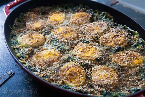 egg recipes spinach gratin with hard boiled eggs recipe simplyrecipes com