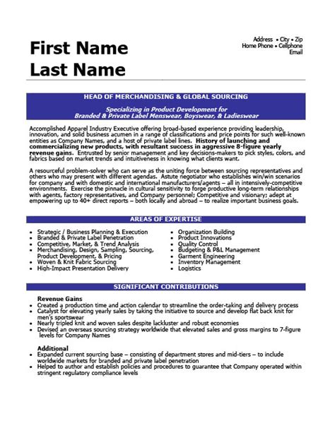 of merchandising and global sourcing resume template