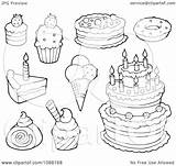 Coloring Dessert Pages Desserts Cream Ice Cakes Clipart Outlined Illustration Visekart Vector Royalty Sheets Within Template Background Printable Pudding 2021 sketch template