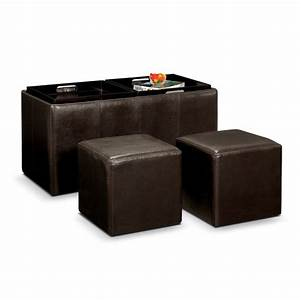 Tiffany 3 pc storage ottoman with trays american for Ottoman storage tray