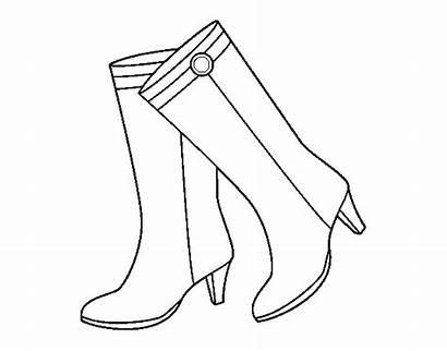 Botas Heels Colorear Dibujo Dibujos Bottes Pintar