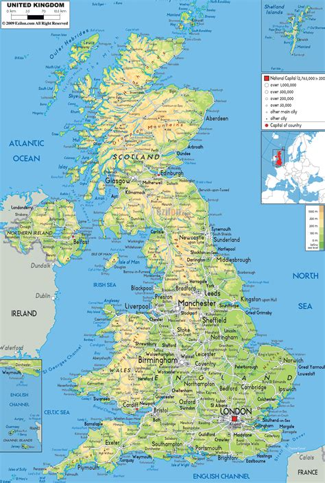 Carte Angleterre Grandes Villes by Large Detailed Physical Map Of United Kingdom With All