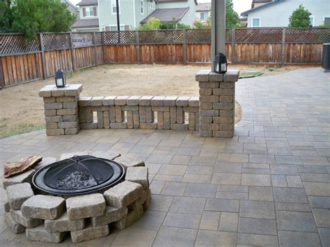 paver patio with block seat wall and pit yelp