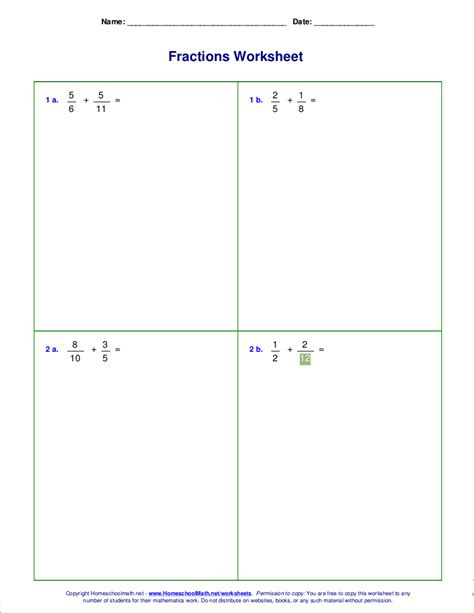fraction addition and subtraction worksheet kidz activities