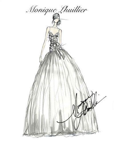 Monique Lhuillier bridal sketch Wedding dress sketches