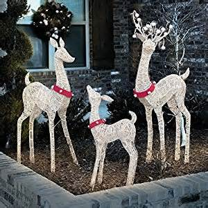 amazon com life size indoor outdoor set of 3 lighted christmas holiday deer family patio