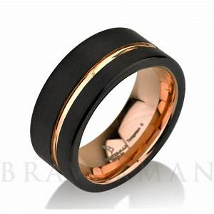 Black tungsten ring rose gold wedding band ring tungsten for Black tungsten ring rose gold wedding band