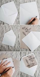 Simple diy rustic wedding invitation and envelope liners for Simple diy wedding invitation envelope liners