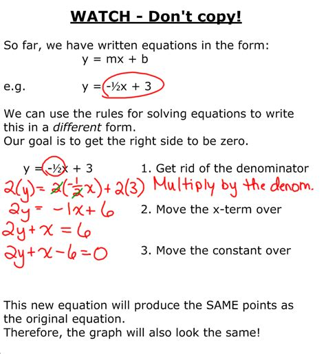 grade 9 academic math equation of a line standard form