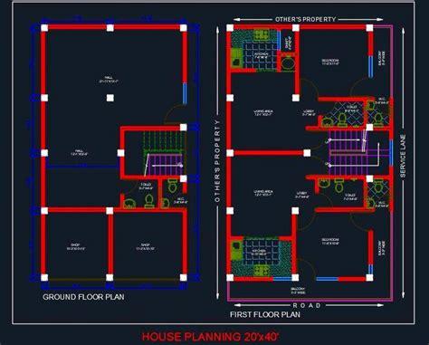 house planning floor plan  autocad file autocad