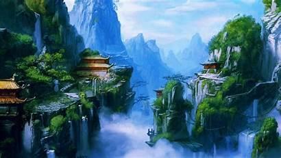 Nature Wallpapers Village Chinese Mountain Desktop Anime