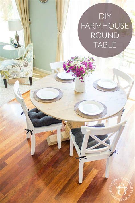 Diy Farmhouse Round Table  Catz In The Kitchen