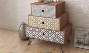 Casa Table De Chevet : table de chevet 3 tiroirs groupon ~ Teatrodelosmanantiales.com Idées de Décoration