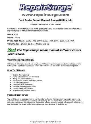 online car repair manuals free 1994 ford probe user handbook ford probe online repair manual for 1990 1991 1992 1993 1994 1995 1996 and 1997 by