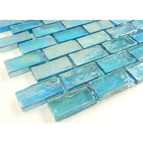aqua blue brick iridescent glass tile glossy pool