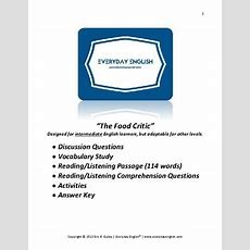 Complete Adult Esl Lesson (the Food Critic) By Everyday English Tpt