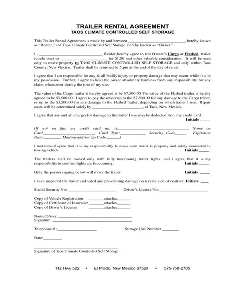 trailer rental agreement fillable printable