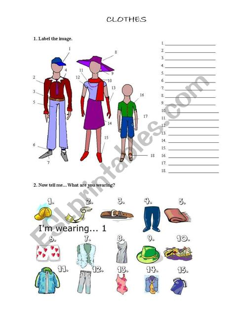 clothes exercises esl worksheet  silvia