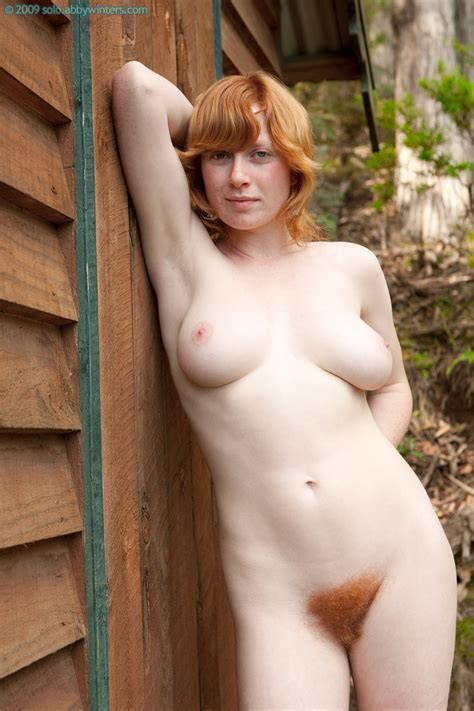 janet busty redhead amateur shows off her fire bush at