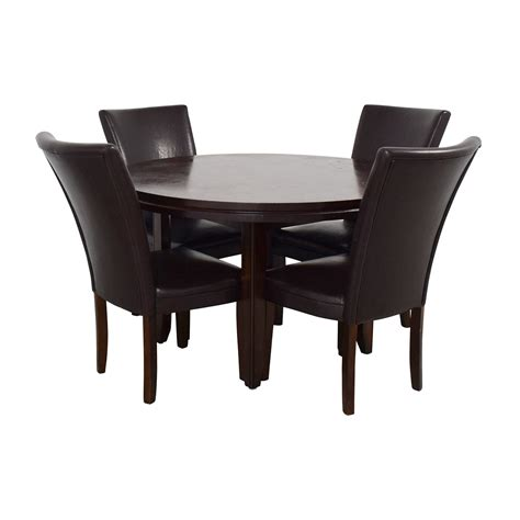wood dining table  black leather