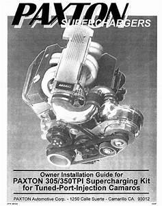 Paxton Supercharger Camaro Corvette Tpi Tuned Port Chevy