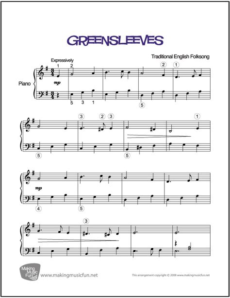 Download and print in pdf or midi free sheet music for song for guy easy piano arranged by nativemarc for piano (piano duo) Greensleeves | Easy Piano Sheet Music - MakingMusicFun.net