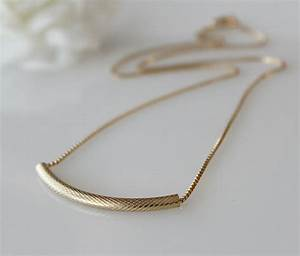 Gold Tube Chain Necklace, 14K Gold Filled, Curved Bar ...