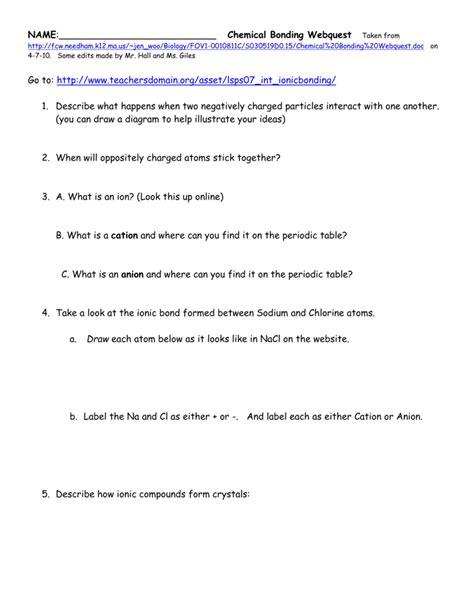 worksheet chemical bonding worksheet answers grass fedjp
