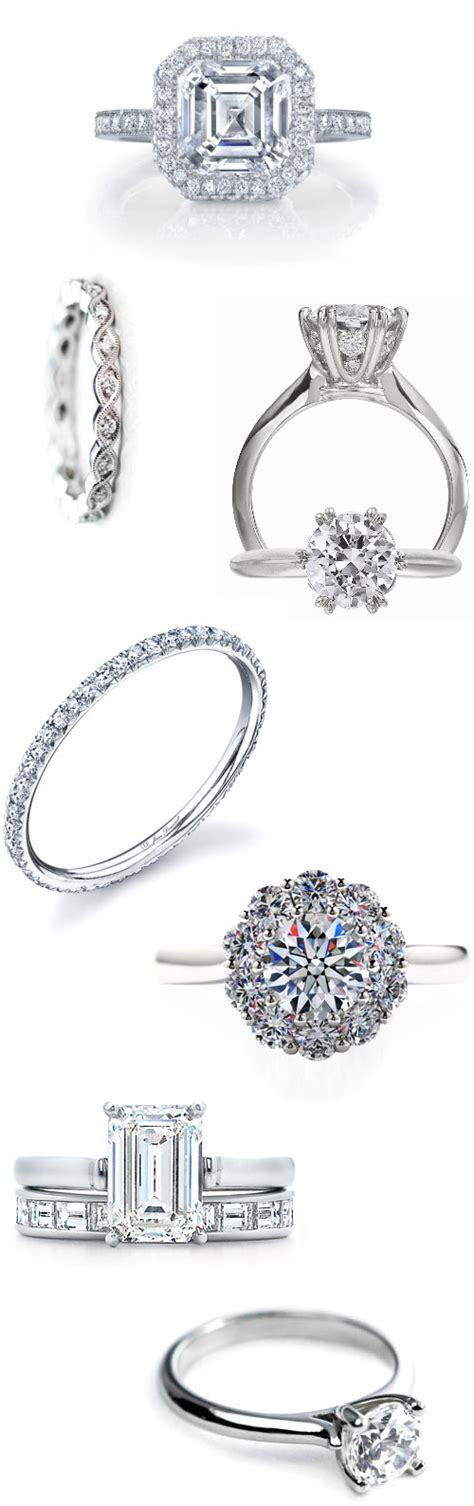 classic diamond engagement and wedding rings junebug