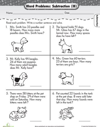 word problems subtraction math word problems st grade