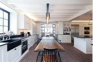 plan de cuisine ouverte sur salle manger kitchen farmhouse With plan cuisine ouverte salle manger