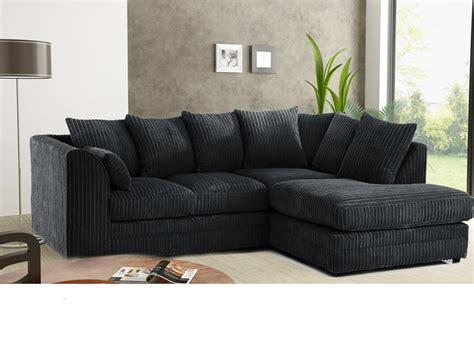 Black Settee by Stanton Cord Fabric Corner Sofa Black High Quality