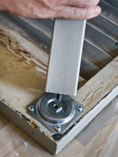 how to attach table top to legs build a shutter console table hgtv