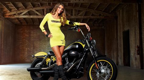 Chick On Bike Wallpaper