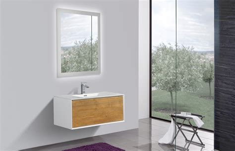 Modern Bathroom Mirrors For Sale by Aquamoon Icon 36 White With Oak Wall Hung Modern Bathroom