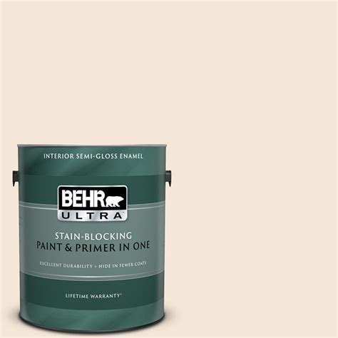 behr ultra 1 gal w b 220 vanilla delight gloss enamel interior paint and primer in one