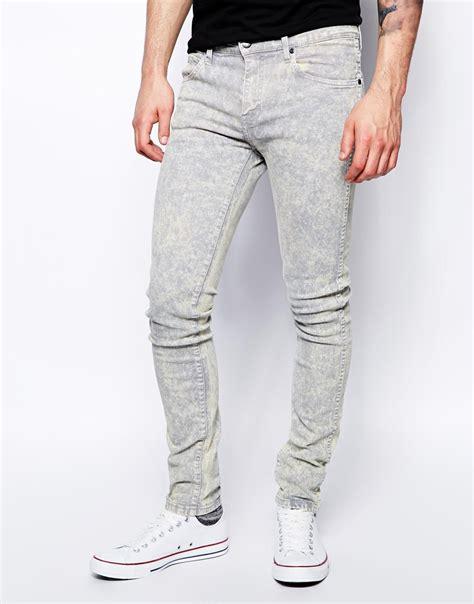 light jeans mens lyst dr denim jeans snap skinny fit in ice light grey