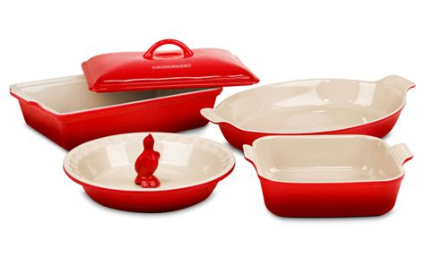 le creuset bakeware sets stoneware cerise cherry red  piece cutlery